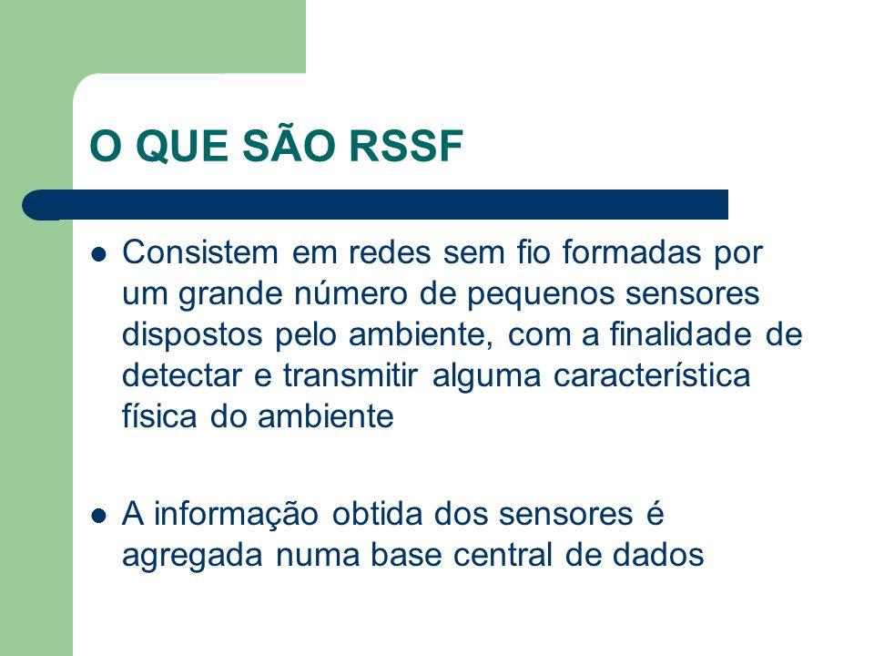 O QUE SÃO RSSF Consistem em redes sem fio formadas por um grande número de pequenos sensores dispostos pelo ambiente, com a finalidade de detectar e t