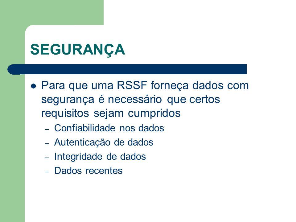 SEGURANÇA Para que uma RSSF forneça dados com segurança é necessário que certos requisitos sejam cumpridos – Confiabilidade nos dados – Autenticação d