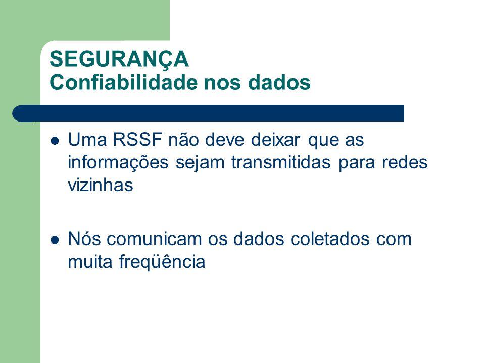 SEGURANÇA Confiabilidade nos dados Uma RSSF não deve deixar que as informações sejam transmitidas para redes vizinhas Nós comunicam os dados coletados