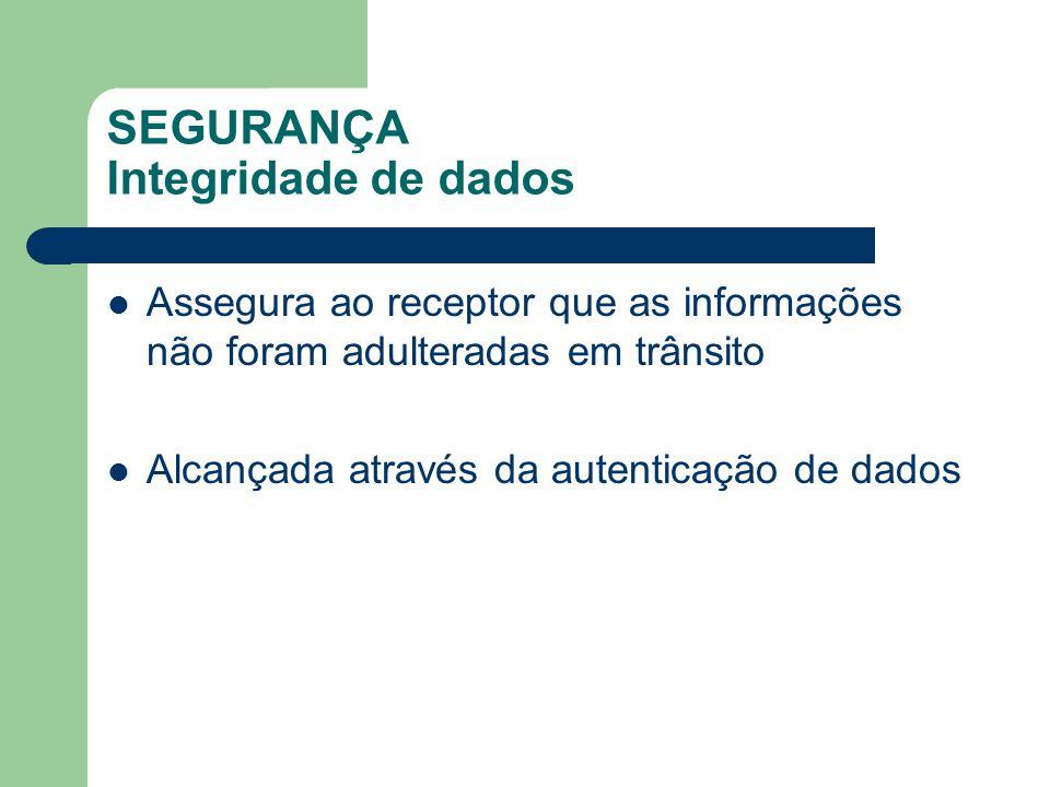 SEGURANÇA Integridade de dados Assegura ao receptor que as informações não foram adulteradas em trânsito Alcançada através da autenticação de dados