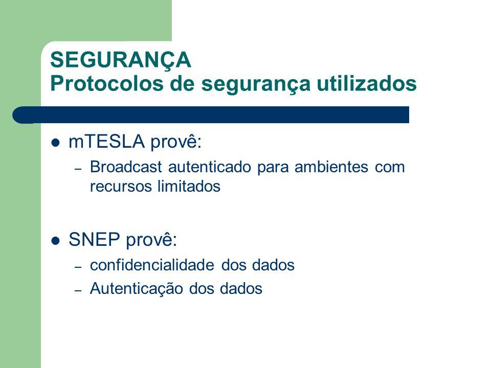 SEGURANÇA Protocolos de segurança utilizados mTESLA provê: – Broadcast autenticado para ambientes com recursos limitados SNEP provê: – confidencialida