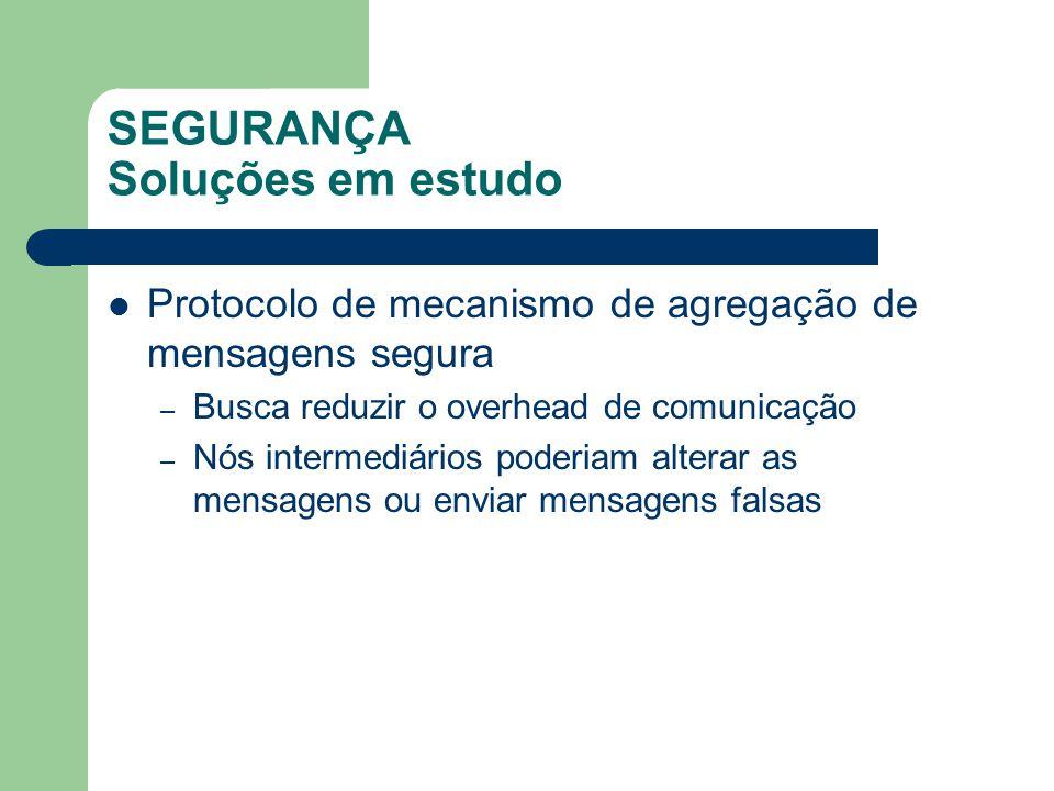 SEGURANÇA Soluções em estudo Protocolo de mecanismo de agregação de mensagens segura – Busca reduzir o overhead de comunicação – Nós intermediários po