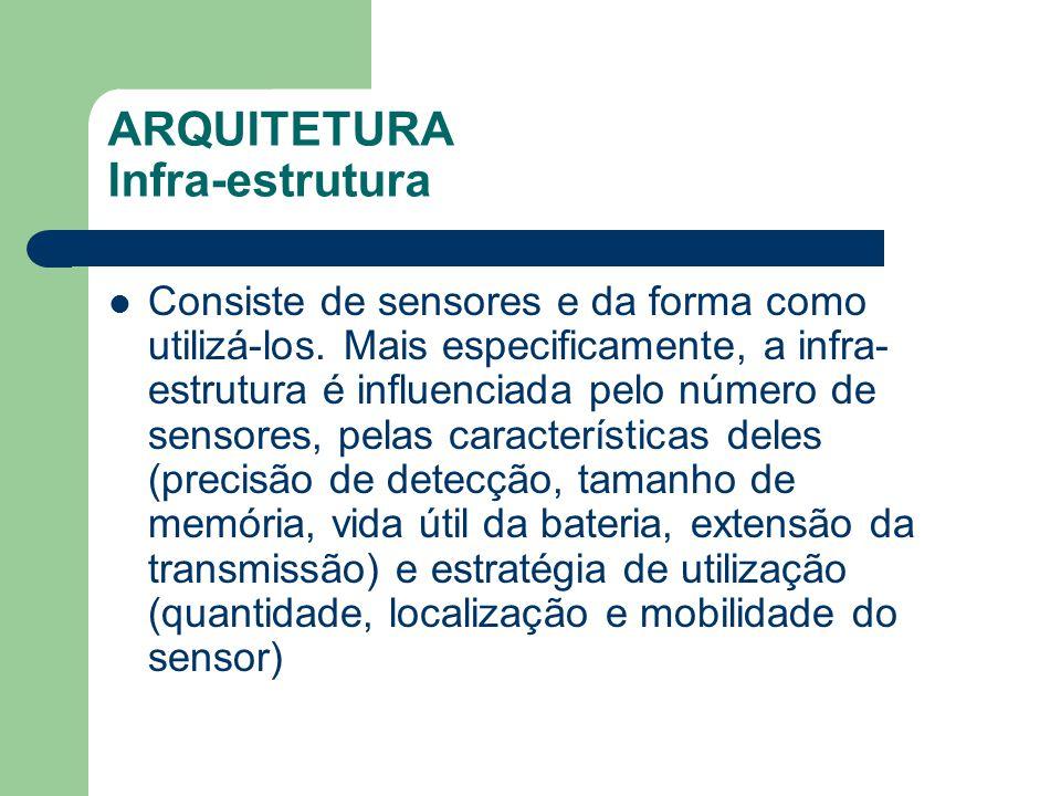 ARQUITETURA Infra-estrutura Consiste de sensores e da forma como utilizá-los. Mais especificamente, a infra- estrutura é influenciada pelo número de s
