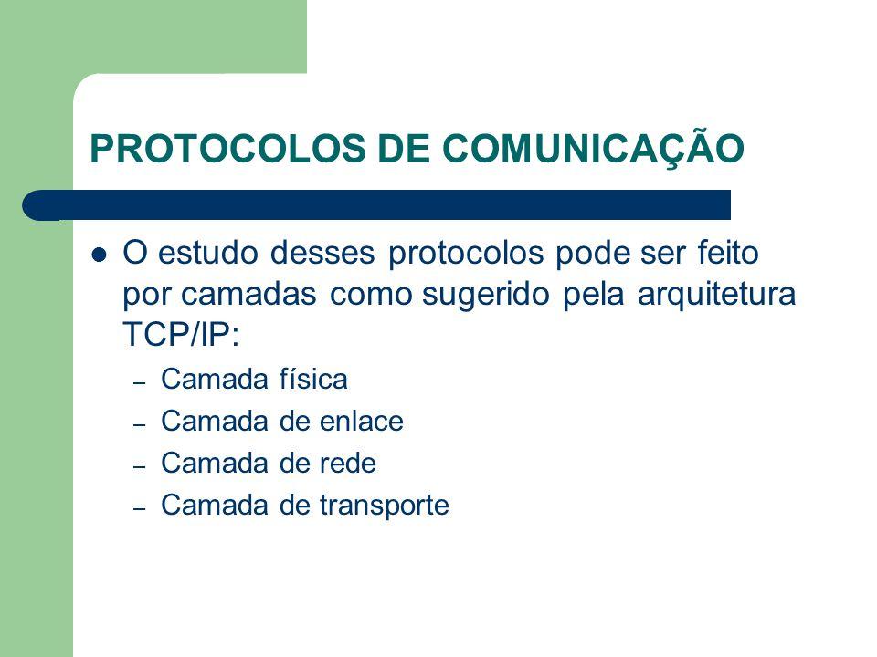 PROTOCOLOS DE COMUNICAÇÃO O estudo desses protocolos pode ser feito por camadas como sugerido pela arquitetura TCP/IP: – Camada física – Camada de enl