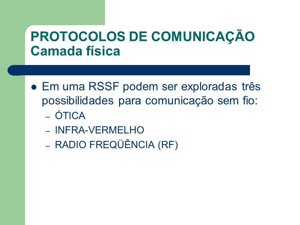 PROTOCOLOS DE COMUNICAÇÃO Camada física Em uma RSSF podem ser exploradas três possibilidades para comunicação sem fio: – ÓTICA – INFRA-VERMELHO – RADI