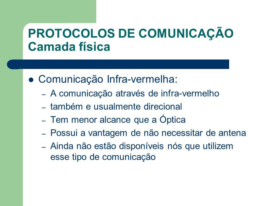 PROTOCOLOS DE COMUNICAÇÃO Camada física Comunicação Infra-vermelha: – A comunicação através de infra-vermelho – também e usualmente direcional – Tem m