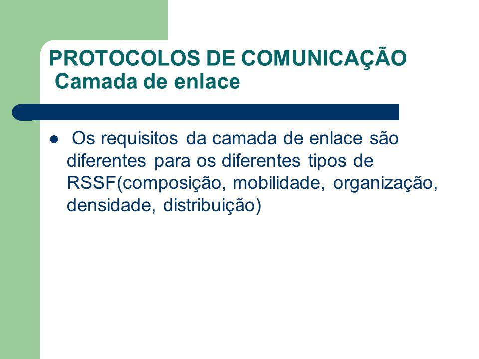 PROTOCOLOS DE COMUNICAÇÃO Camada de enlace Os requisitos da camada de enlace são diferentes para os diferentes tipos de RSSF(composição, mobilidade, o