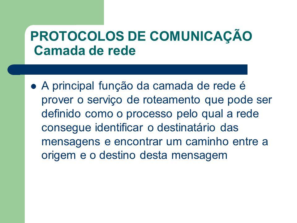 PROTOCOLOS DE COMUNICAÇÃO Camada de rede A principal função da camada de rede é prover o serviço de roteamento que pode ser definido como o processo p
