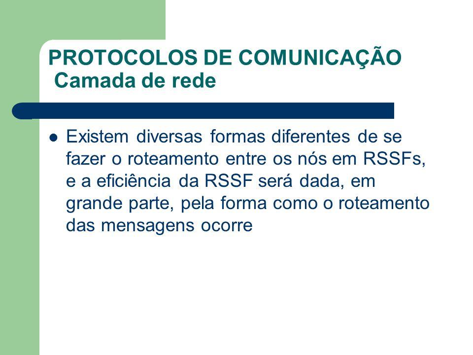 PROTOCOLOS DE COMUNICAÇÃO Camada de rede Existem diversas formas diferentes de se fazer o roteamento entre os nós em RSSFs, e a eficiência da RSSF ser