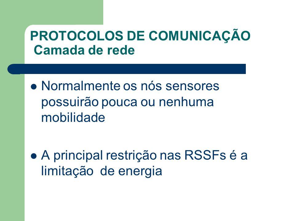 PROTOCOLOS DE COMUNICAÇÃO Camada de rede Normalmente os nós sensores possuirão pouca ou nenhuma mobilidade A principal restrição nas RSSFs é a limitaç