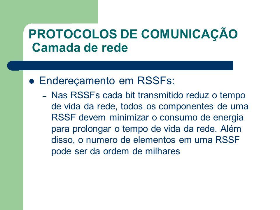PROTOCOLOS DE COMUNICAÇÃO Camada de rede Endereçamento em RSSFs: – Nas RSSFs cada bit transmitido reduz o tempo de vida da rede, todos os componentes