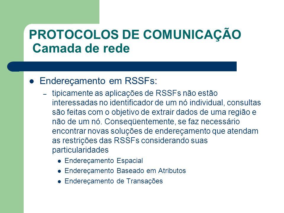 PROTOCOLOS DE COMUNICAÇÃO Camada de rede Endereçamento em RSSFs: – tipicamente as aplicações de RSSFs não estão interessadas no identificador de um nó