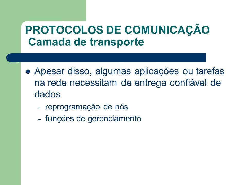 PROTOCOLOS DE COMUNICAÇÃO Camada de transporte Apesar disso, algumas aplicações ou tarefas na rede necessitam de entrega confiável de dados – reprogra