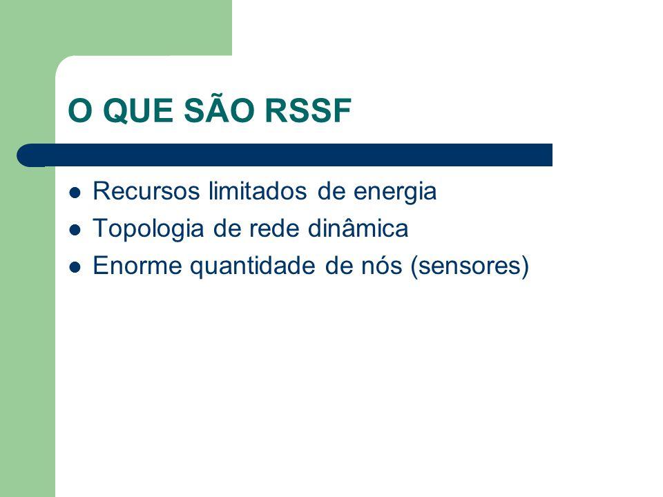 O QUE SÃO RSSF Recursos limitados de energia Topologia de rede dinâmica Enorme quantidade de nós (sensores)