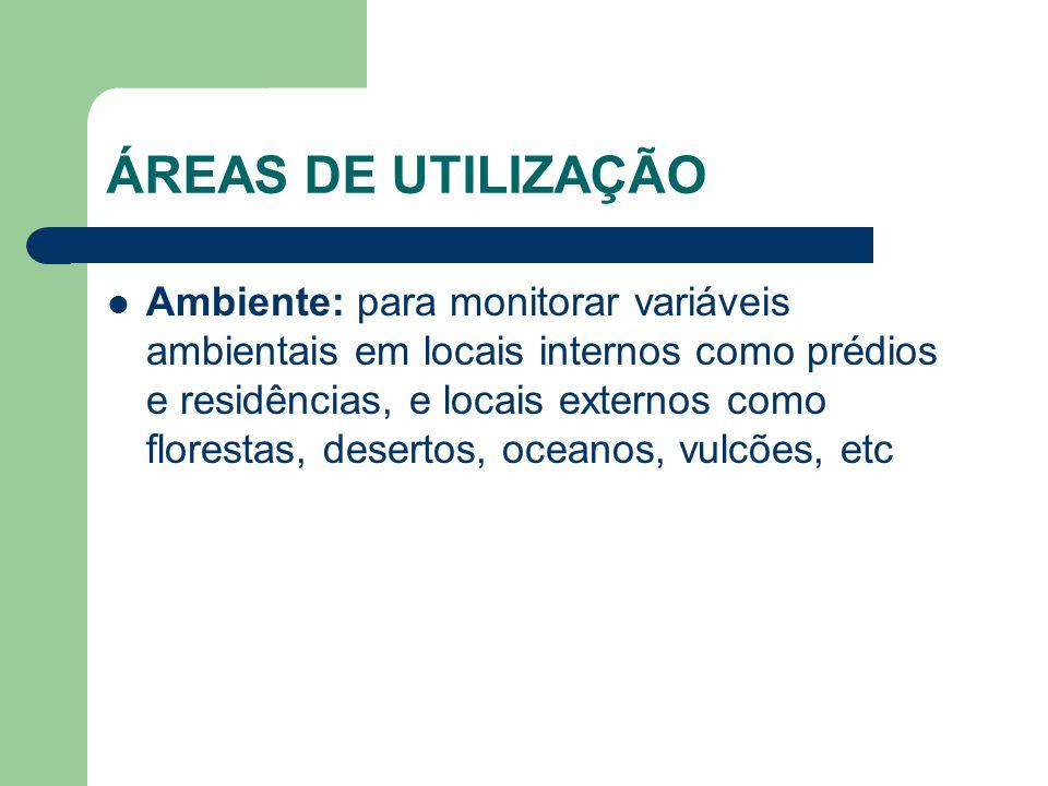 ÁREAS DE UTILIZAÇÃO Ambiente: para monitorar variáveis ambientais em locais internos como prédios e residências, e locais externos como florestas, des