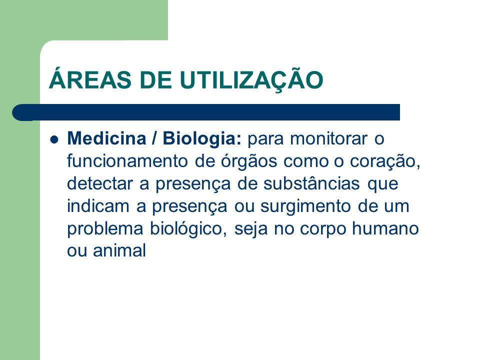 ÁREAS DE UTILIZAÇÃO Medicina / Biologia: para monitorar o funcionamento de órgãos como o coração, detectar a presença de substâncias que indicam a pre