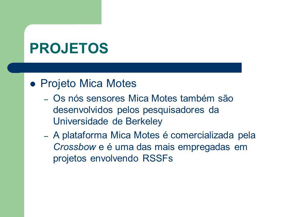 PROJETOS Projeto Mica Motes – Os nós sensores Mica Motes também são desenvolvidos pelos pesquisadores da Universidade de Berkeley – A plataforma Mica