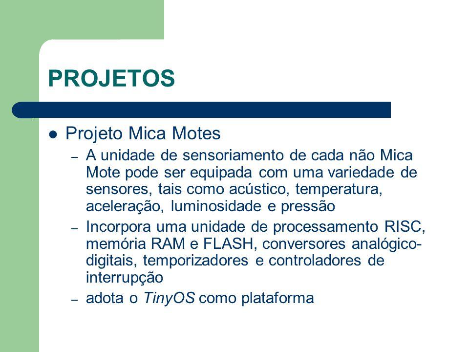 PROJETOS Projeto Mica Motes – A unidade de sensoriamento de cada não Mica Mote pode ser equipada com uma variedade de sensores, tais como acústico, te