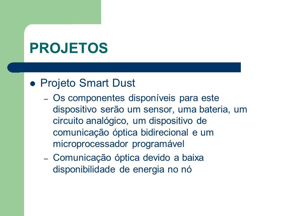 PROJETOS Projeto Smart Dust – Os componentes disponíveis para este dispositivo serão um sensor, uma bateria, um circuito analógico, um dispositivo de