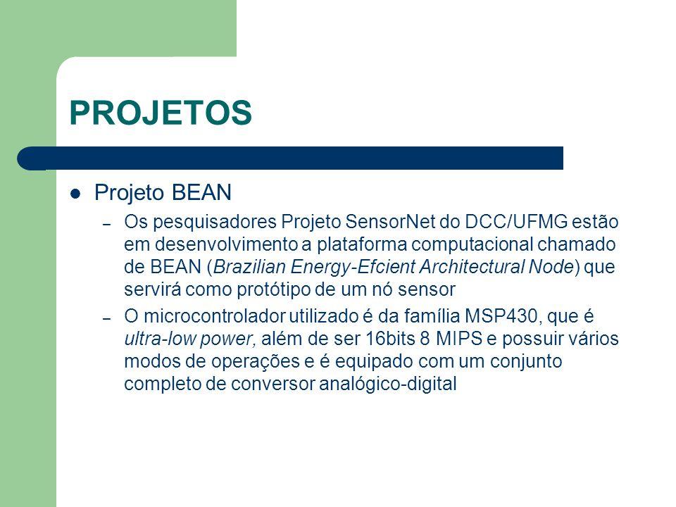 PROJETOS Projeto BEAN – Os pesquisadores Projeto SensorNet do DCC/UFMG estão em desenvolvimento a plataforma computacional chamado de BEAN (Brazilian