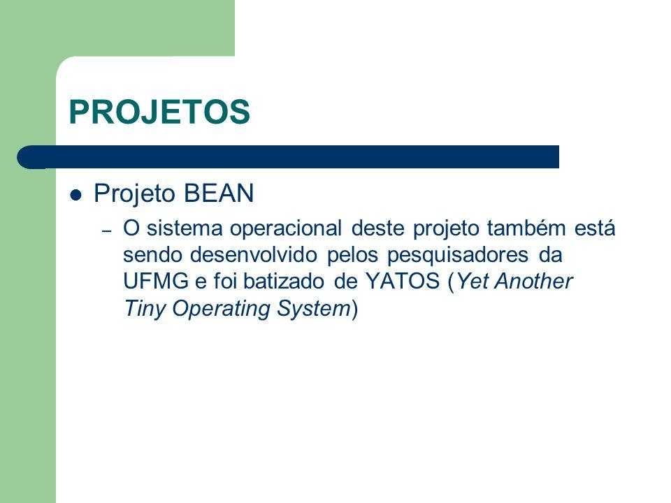 PROJETOS Projeto BEAN – O sistema operacional deste projeto também está sendo desenvolvido pelos pesquisadores da UFMG e foi batizado de YATOS (Yet An