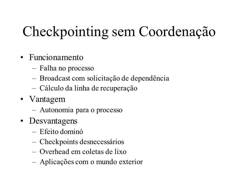 Checkpointing sem Coordenação Funcionamento –Falha no processo –Broadcast com solicitação de dependência –Cálculo da linha de recuperação Vantagem –Au
