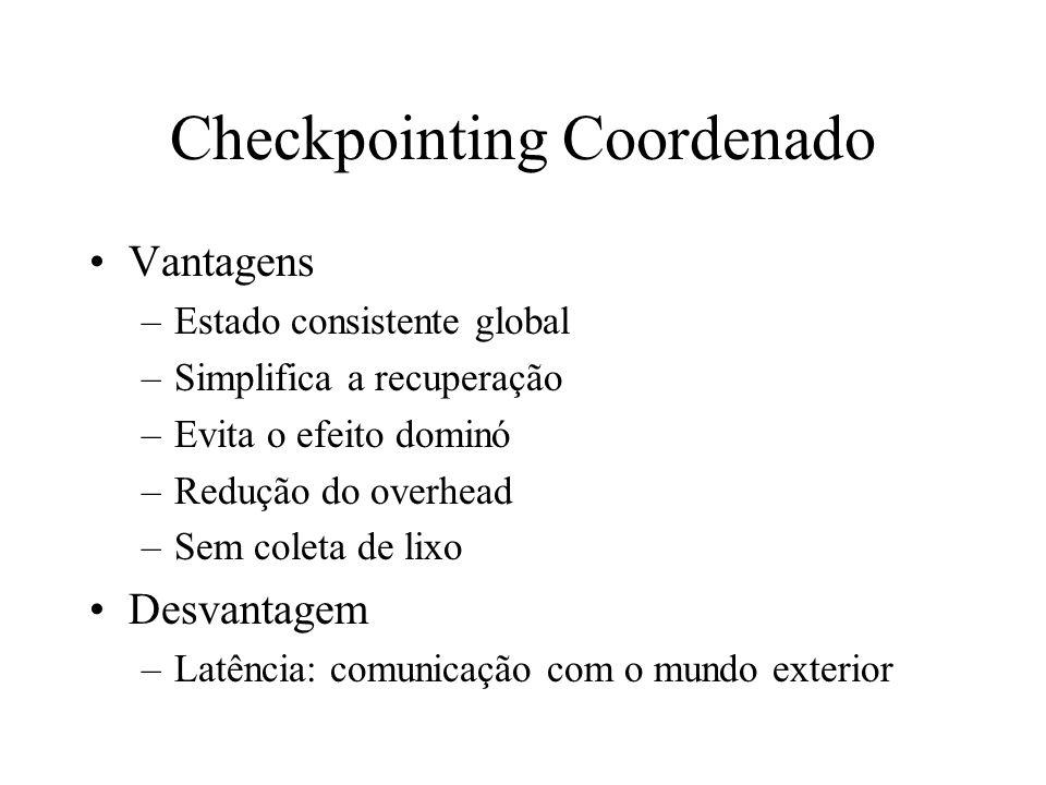 Checkpointing Coordenado Vantagens –Estado consistente global –Simplifica a recuperação –Evita o efeito dominó –Redução do overhead –Sem coleta de lix