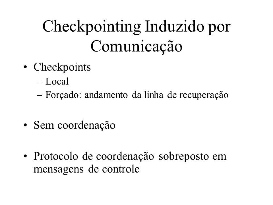 Checkpointing Induzido por Comunicação Checkpoints –Local –Forçado: andamento da linha de recuperação Sem coordenação Protocolo de coordenação sobrepo