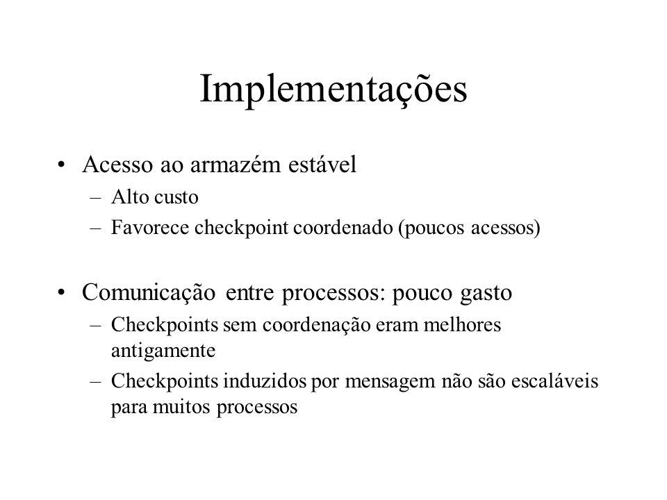 Implementações Acesso ao armazém estável –Alto custo –Favorece checkpoint coordenado (poucos acessos) Comunicação entre processos: pouco gasto –Checkp