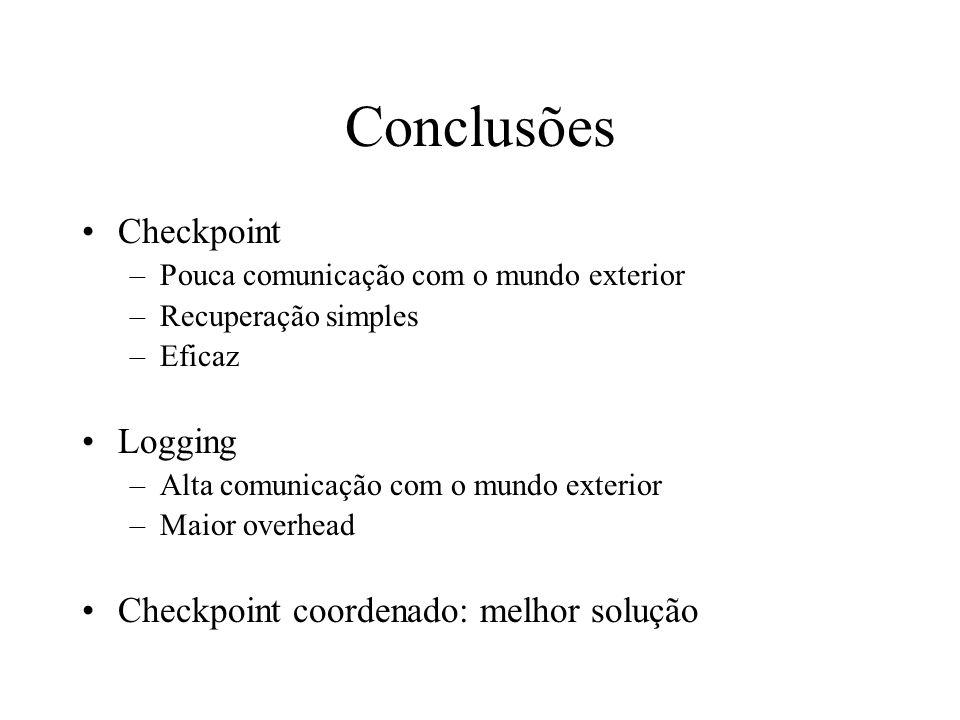 Conclusões Checkpoint –Pouca comunicação com o mundo exterior –Recuperação simples –Eficaz Logging –Alta comunicação com o mundo exterior –Maior overh