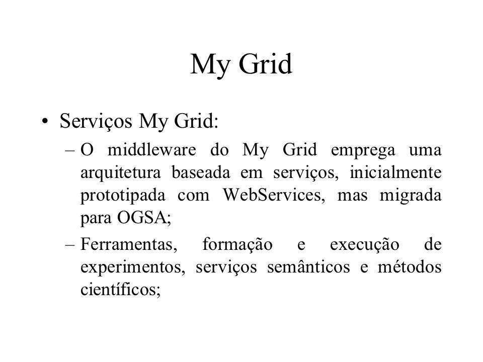 My Grid Serviços My Grid: –O middleware do My Grid emprega uma arquitetura baseada em serviços, inicialmente prototipada com WebServices, mas migrada para OGSA; –Ferramentas, formação e execução de experimentos, serviços semânticos e métodos científicos;