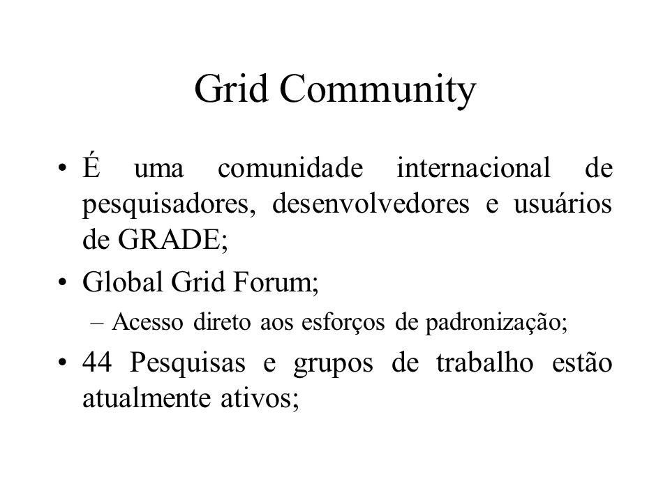 Grid Community É uma comunidade internacional de pesquisadores, desenvolvedores e usuários de GRADE; Global Grid Forum; –Acesso direto aos esforços de padronização; 44 Pesquisas e grupos de trabalho estão atualmente ativos;