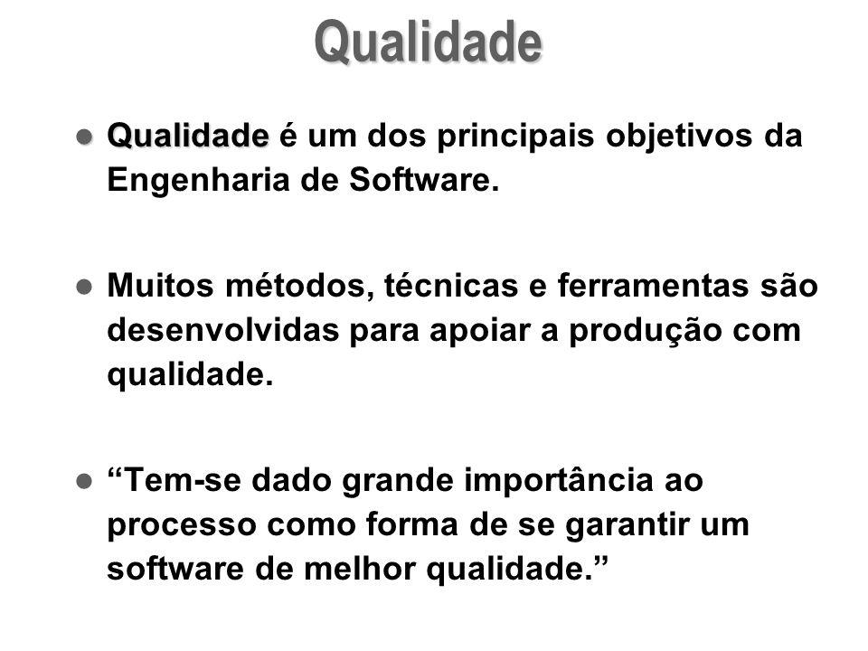 Qualidade Qualidade é um dos principais objetivos da Engenharia de Software. Muitos métodos, técnicas e ferramentas são desenvolvidas para apoiar a pr