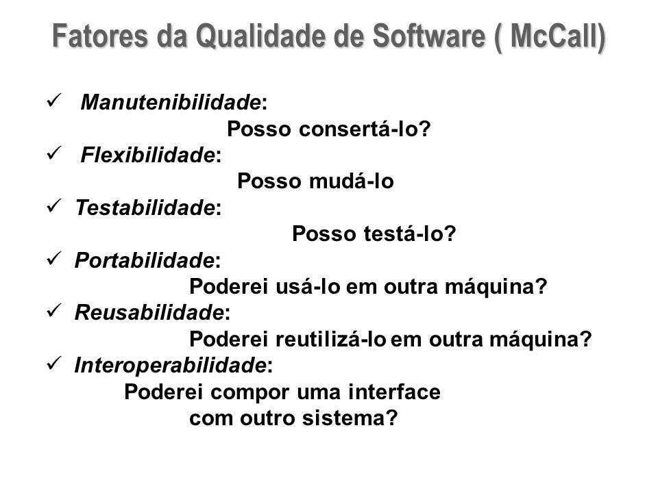 Fatores da Qualidade de Software ( McCall) Manutenibilidade: Posso consertá-lo? Flexibilidade: Posso mudá-lo Testabilidade: Posso testá-lo? Portabilid
