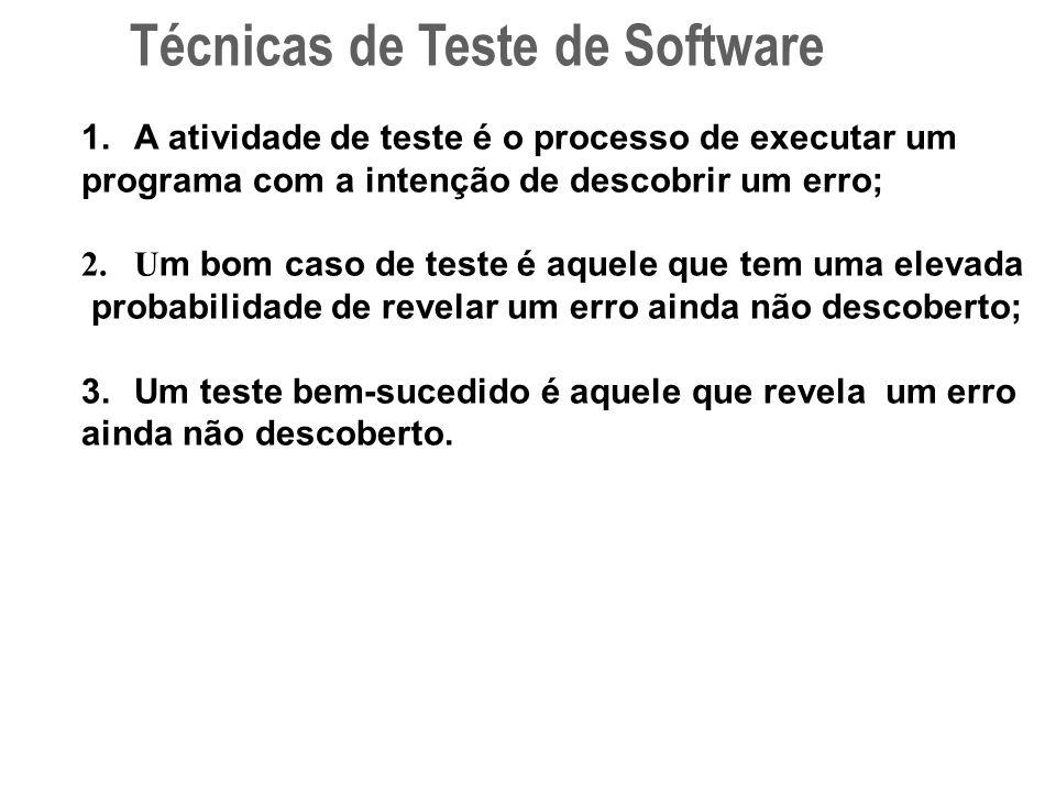 1.A atividade de teste é o processo de executar um programa com a intenção de descobrir um erro; 2.U m bom caso de teste é aquele que tem uma elevada probabilidade de revelar um erro ainda não descoberto; 3.Um teste bem-sucedido é aquele que revela um erro ainda não descoberto.
