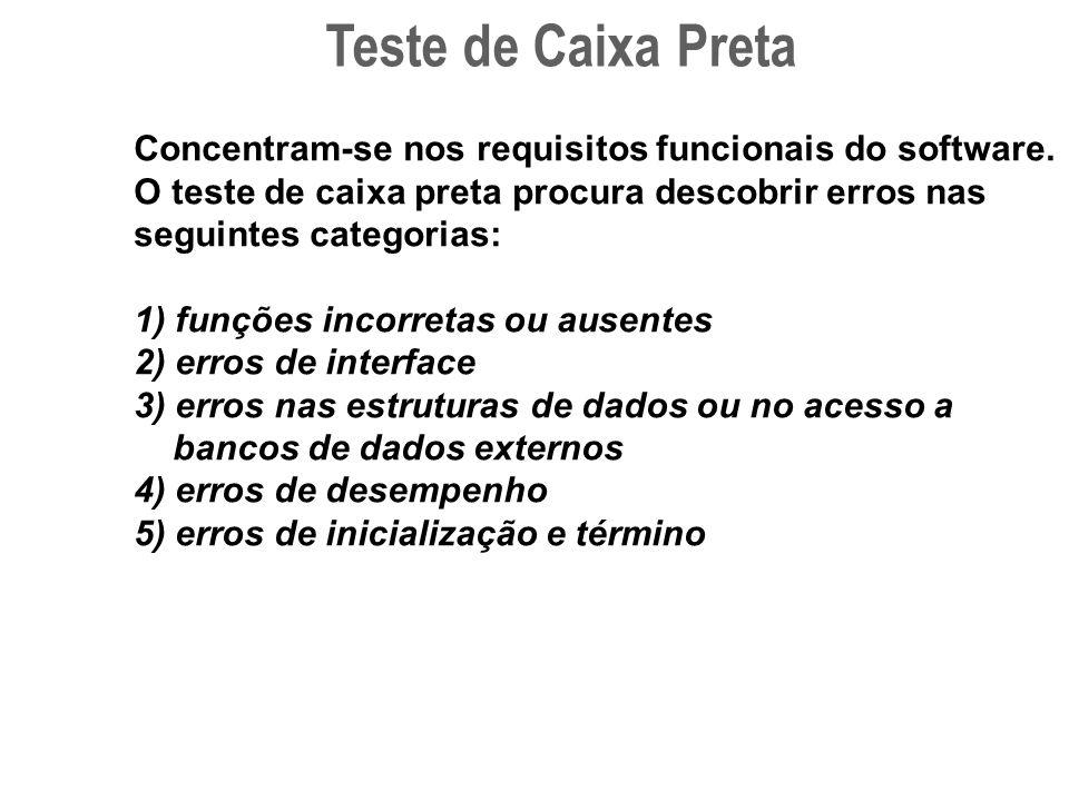 Teste de Caixa Preta Concentram-se nos requisitos funcionais do software. O teste de caixa preta procura descobrir erros nas seguintes categorias: 1)