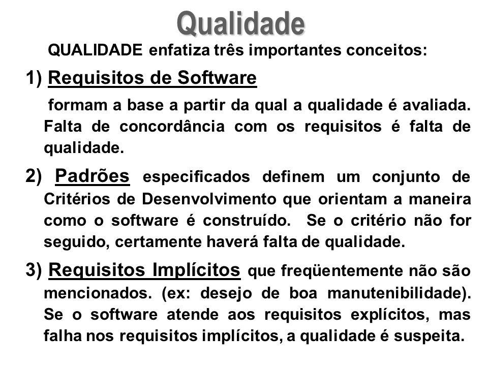QUALIDADE enfatiza três importantes conceitos: 1) Requisitos de Software formam a base a partir da qual a qualidade é avaliada. Falta de concordância