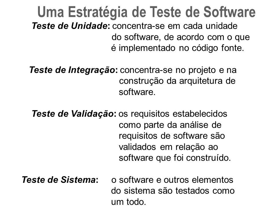 Teste de Unidade: concentra-se em cada unidade do software, de acordo com o que é implementado no código fonte.