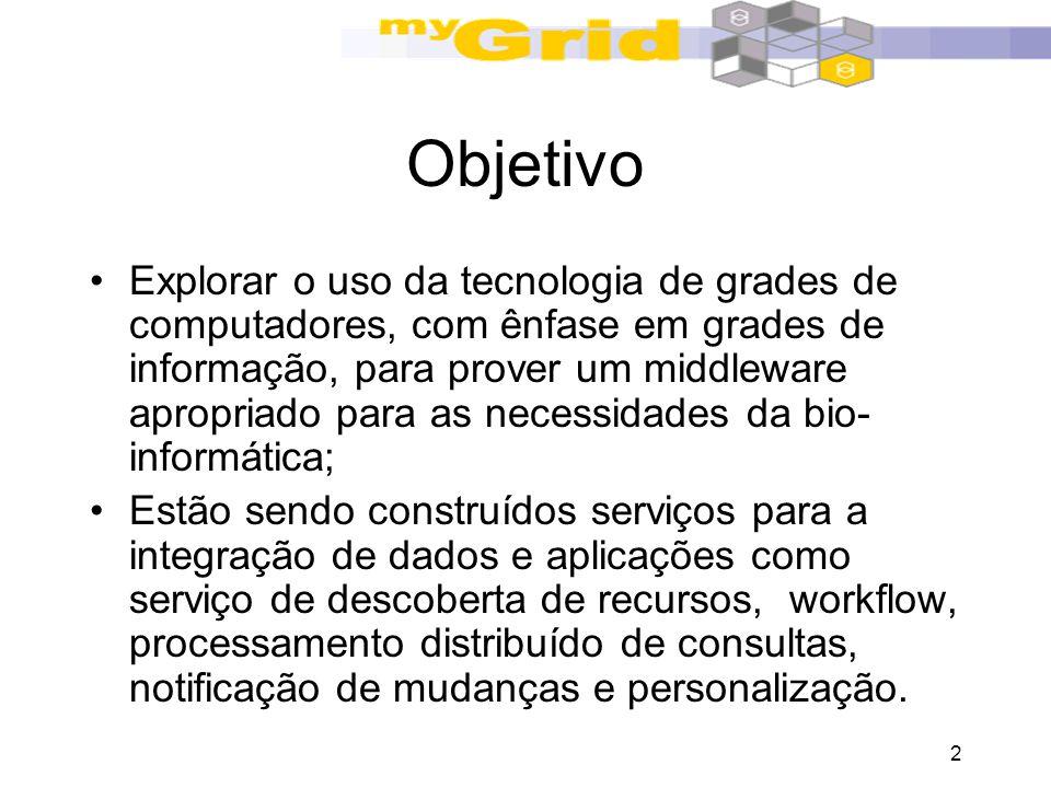 2 Objetivo Explorar o uso da tecnologia de grades de computadores, com ênfase em grades de informação, para prover um middleware apropriado para as ne