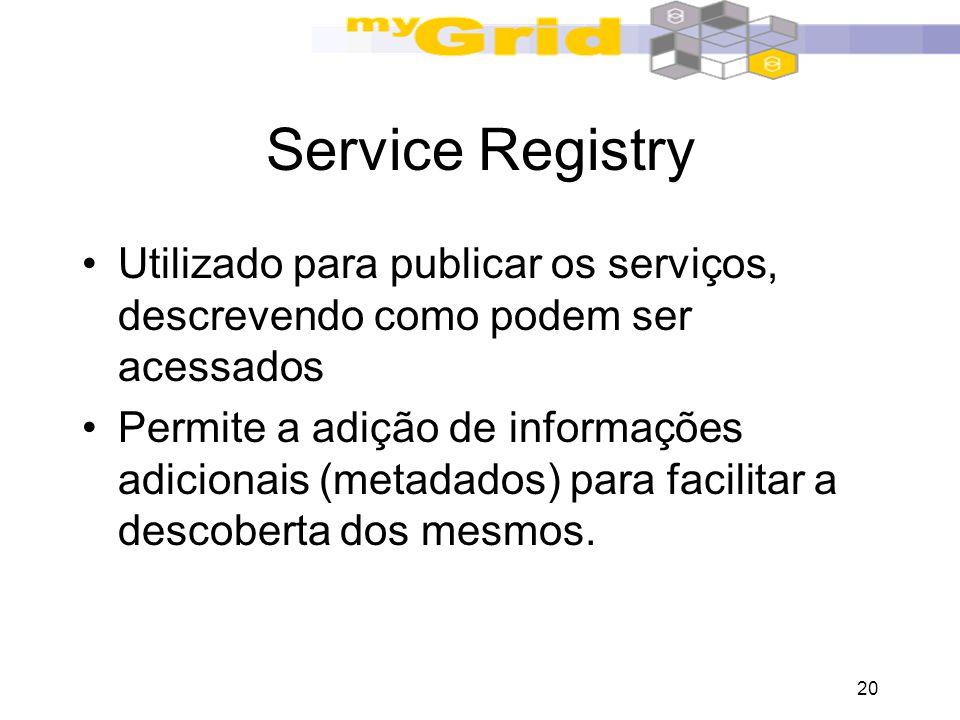 20 Service Registry Utilizado para publicar os serviços, descrevendo como podem ser acessados Permite a adição de informações adicionais (metadados) p