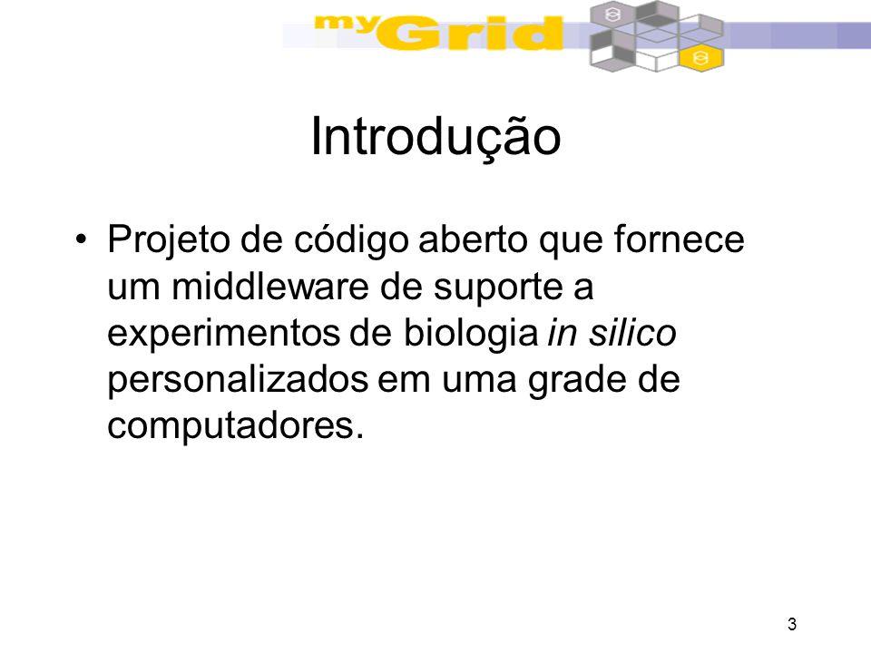 3 Introdução Projeto de código aberto que fornece um middleware de suporte a experimentos de biologia in silico personalizados em uma grade de computa