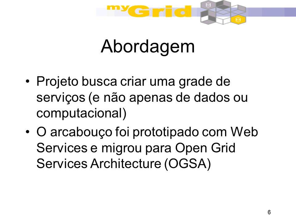 6 Abordagem Projeto busca criar uma grade de serviços (e não apenas de dados ou computacional) O arcabouço foi prototipado com Web Services e migrou p