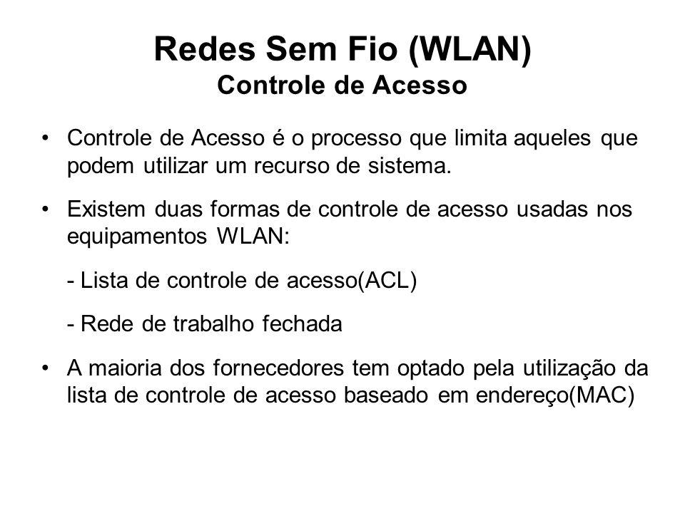 Redes Sem Fio (WLAN) Controle de Acesso Controle de Acesso é o processo que limita aqueles que podem utilizar um recurso de sistema. Existem duas form