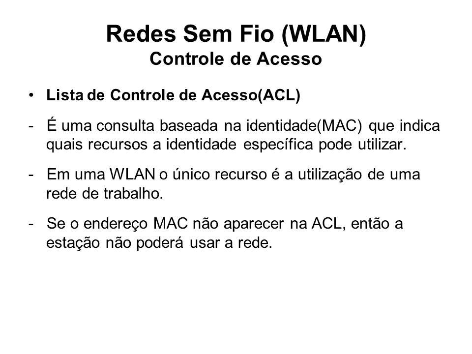 Redes Sem Fio (WLAN) Controle de Acesso Lista de Controle de Acesso(ACL) - É uma consulta baseada na identidade(MAC) que indica quais recursos a identidade específica pode utilizar.