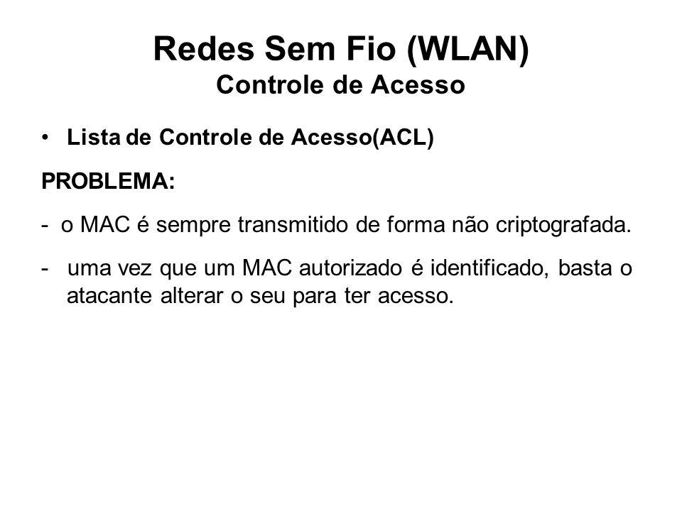 Redes Sem Fio (WLAN) Controle de Acesso Lista de Controle de Acesso(ACL) PROBLEMA: - o MAC é sempre transmitido de forma não criptografada.