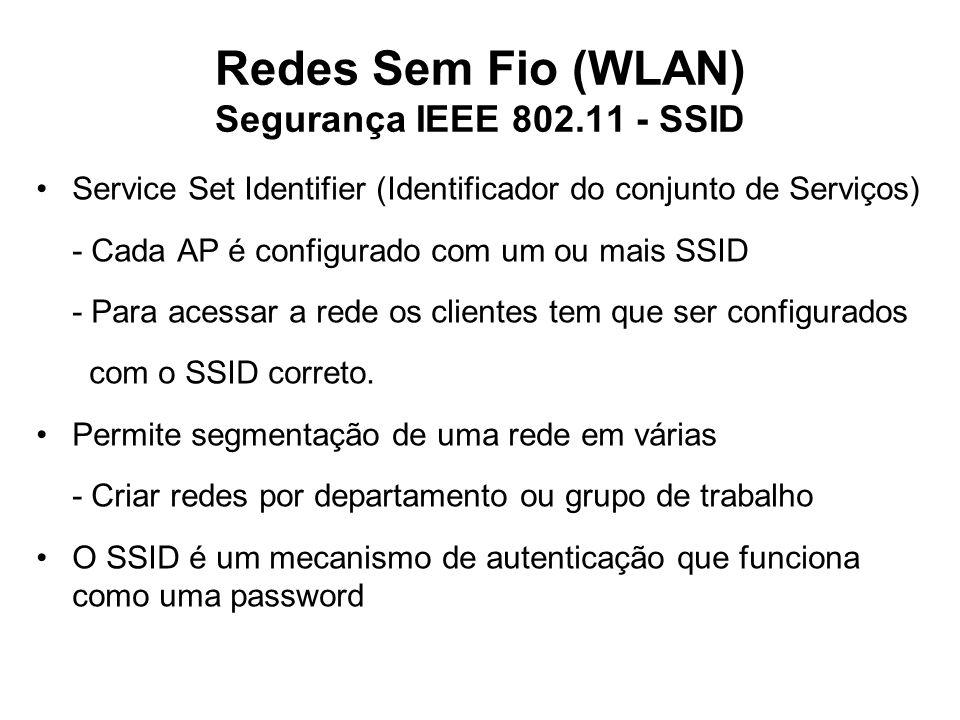 Redes Sem Fio (WLAN) Segurança IEEE 802.11 - SSID Service Set Identifier (Identificador do conjunto de Serviços) - Cada AP é configurado com um ou mais SSID - Para acessar a rede os clientes tem que ser configurados com o SSID correto.