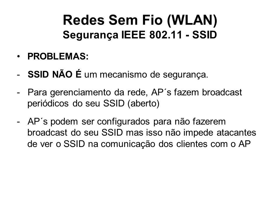 PROBLEMAS: - SSID NÃO É um mecanismo de segurança. - Para gerenciamento da rede, AP´s fazem broadcast periódicos do seu SSID (aberto) - AP´s podem ser