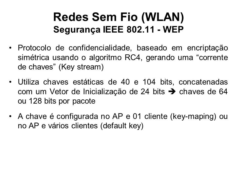 Redes Sem Fio (WLAN) Segurança IEEE 802.11 - WEP Protocolo de confidencialidade, baseado em encriptação simétrica usando o algoritmo RC4, gerando uma corrente de chaves (Key stream) Utiliza chaves estáticas de 40 e 104 bits, concatenadas com um Vetor de Inicialização de 24 bits  chaves de 64 ou 128 bits por pacote A chave é configurada no AP e 01 cliente (key-maping) ou no AP e vários clientes (default key)