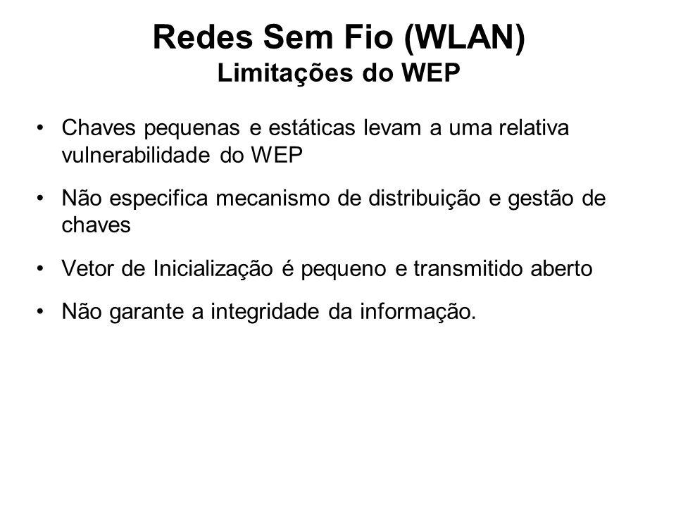 Redes Sem Fio (WLAN) Limitações do WEP Chaves pequenas e estáticas levam a uma relativa vulnerabilidade do WEP Não especifica mecanismo de distribuição e gestão de chaves Vetor de Inicialização é pequeno e transmitido aberto Não garante a integridade da informação.