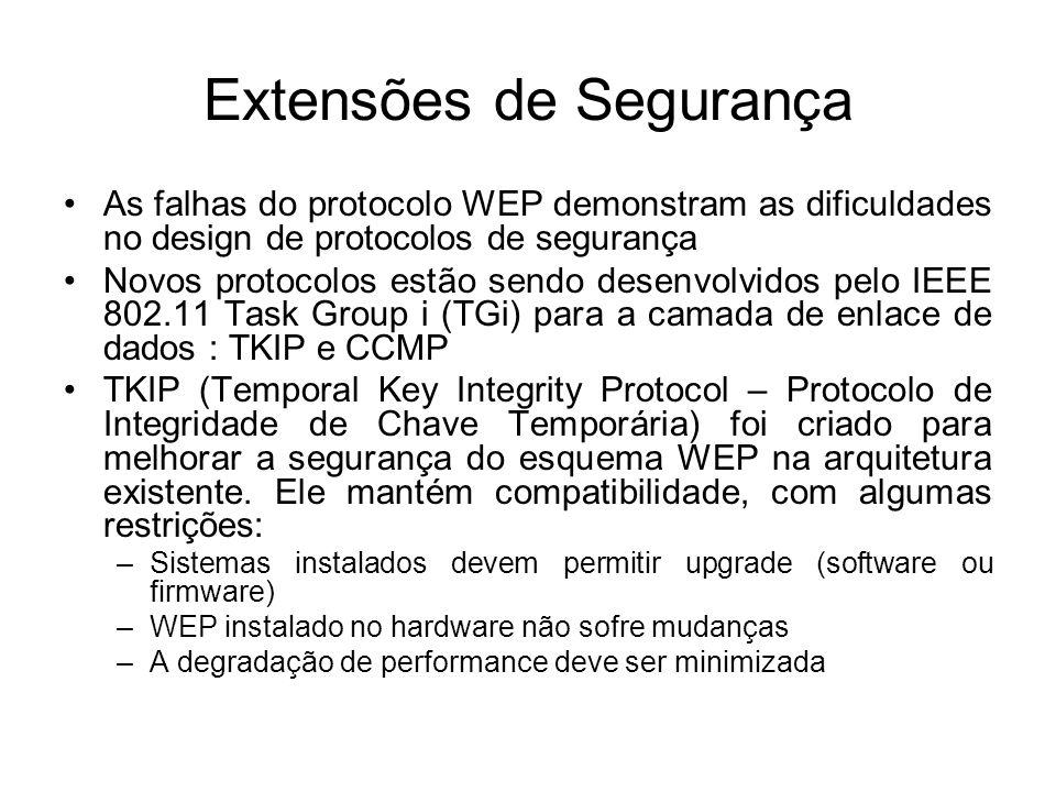 Extensões de Segurança As falhas do protocolo WEP demonstram as dificuldades no design de protocolos de segurança Novos protocolos estão sendo desenvolvidos pelo IEEE 802.11 Task Group i (TGi) para a camada de enlace de dados : TKIP e CCMP TKIP (Temporal Key Integrity Protocol – Protocolo de Integridade de Chave Temporária) foi criado para melhorar a segurança do esquema WEP na arquitetura existente.